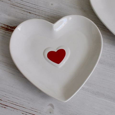 Red Heart Shape Plate, Set of Two