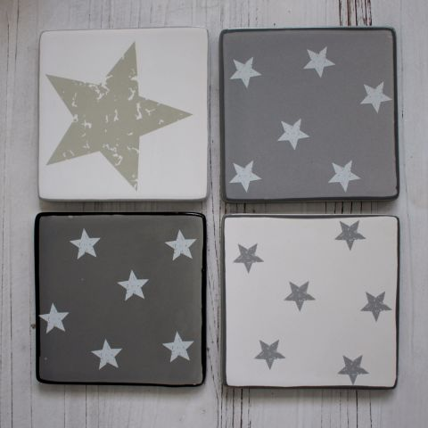 Mixed Grey Star Coasters, Set of Four