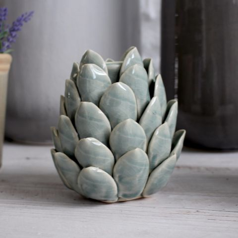 Artichoke Candle Holder, Blue/Grey