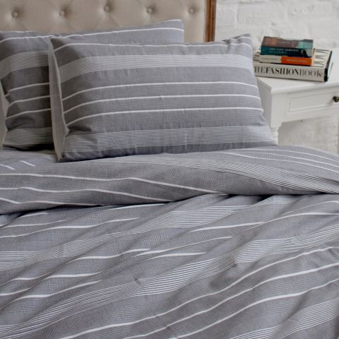 Essex Grey Stripe Duvet Set