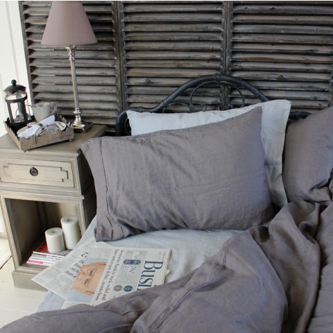 French Linen Charcoal Duvet Cover