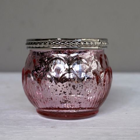 Rose Glass Candle Holder, Set of Three