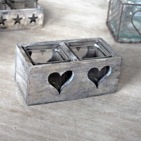 Double Wooden Glass Heart Candle Holder