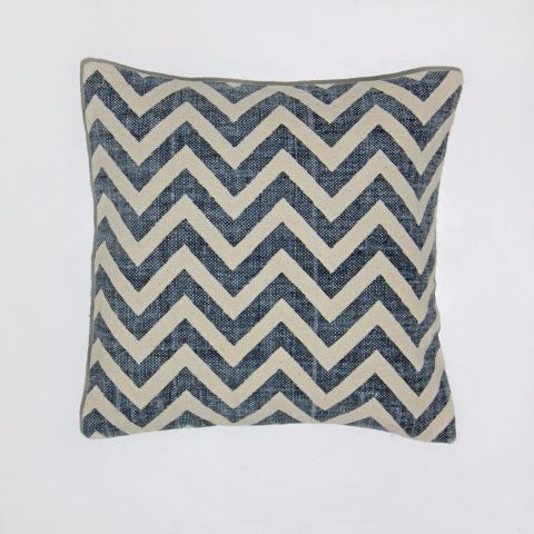 Santorini Zig Zag Cushion, Navy