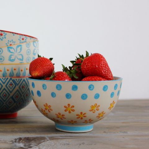 Capri Daisy Snack Bowl, Set of Four