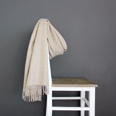 Pinstripe Merino Wool Throw, Beige