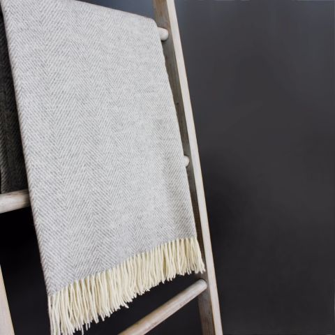 Herringbone Merino Wool Throw, Grey