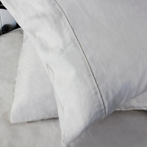 Set of Two French Linen Ivory Pillowcases