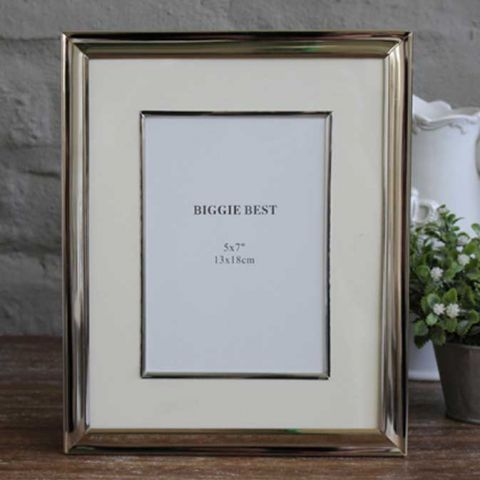 Nickel Photo Frame With Edged Mount, Large