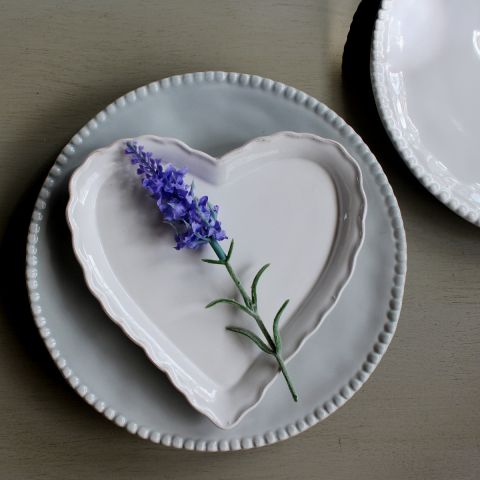 Annmarie White Heart Plate, Set of Four