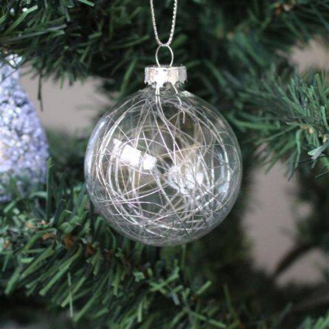 Silver String Glass Bauble, Set of Three