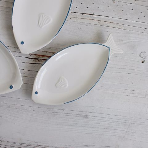 Small Blue Trim Fish Plate, Set of Two