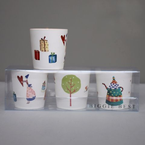 Set of Three Assorted Ceramic Candles, Heart Girl/Tree/Teapot