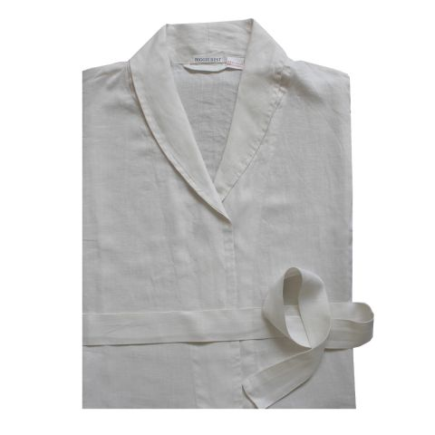 WORN IVORY PURE LINEN DRESSING GOWN