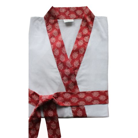 WHITE/RED HINDI DRESSING GOWN