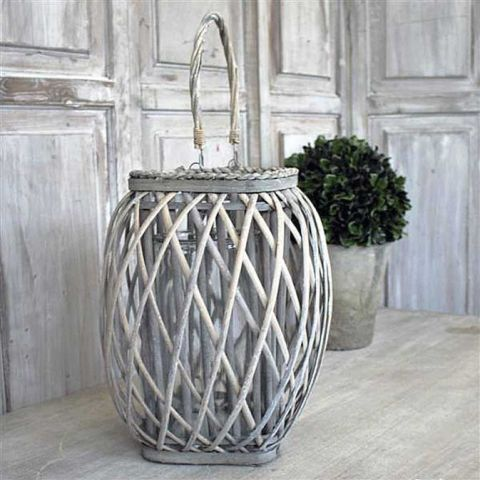 Large Willow and Glass Lantern