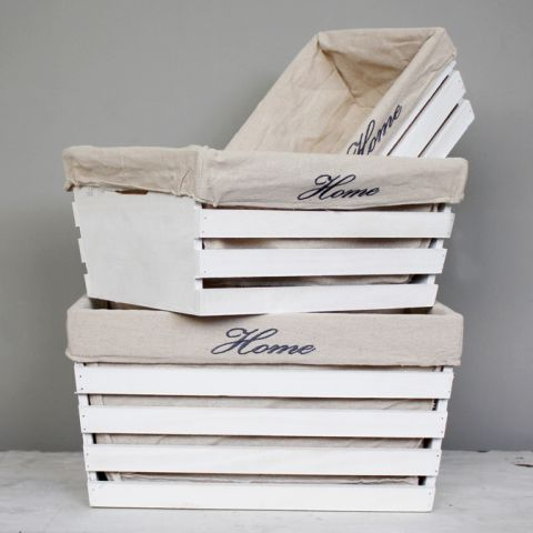 Set of Three Lined White Wooden Crate