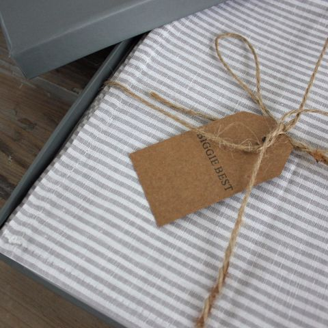Grey Stripe Napkins Gift Box
