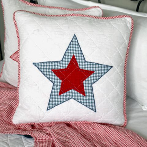 Star Applique Blue Quilted Cushion