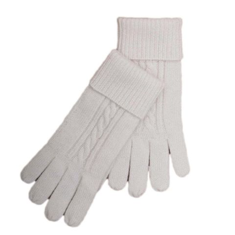 CASHMERE CABLE GLOVES - OFF WHITE