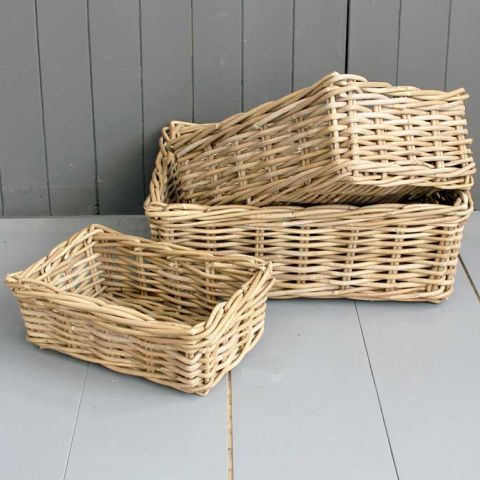 Set Of Three Kubu Basket Trays