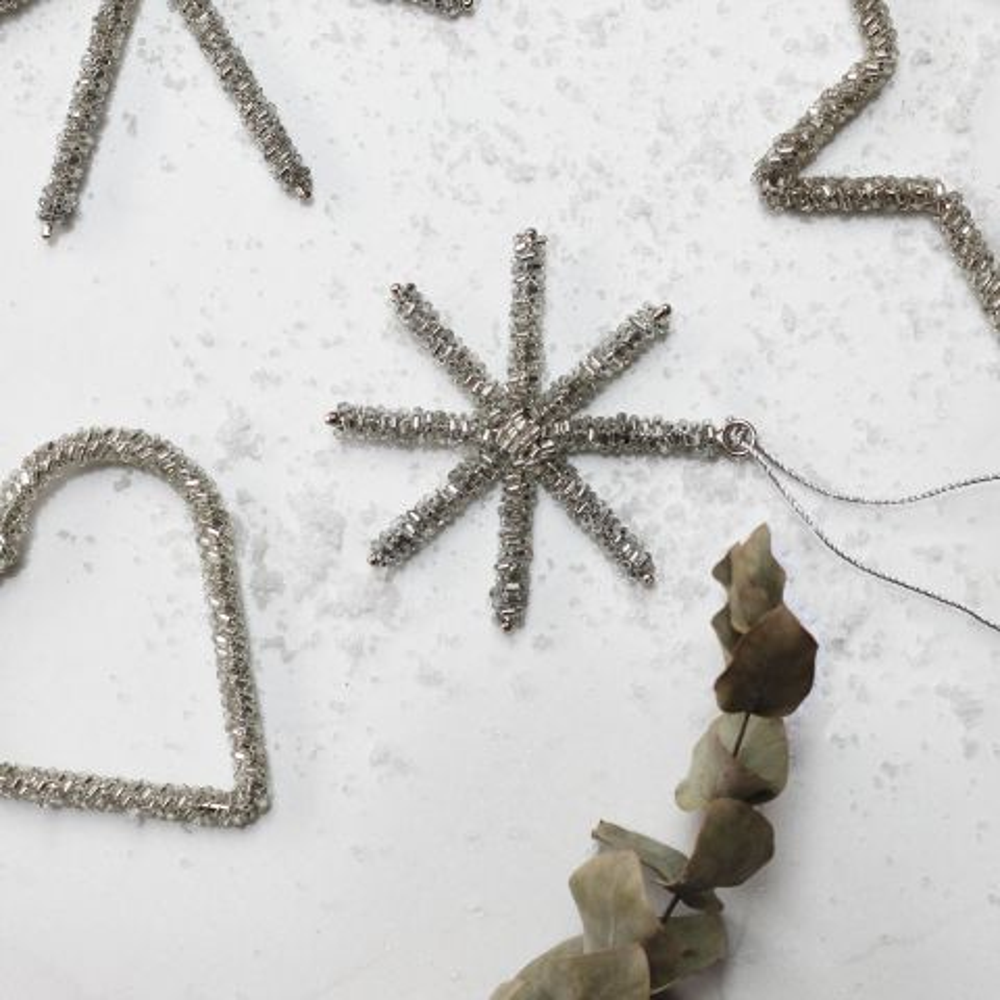 GLASS BEADED HANGING SNOWFLAKE SMALL