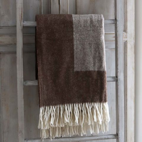 CAMEL TWO TONE WOOL THROW