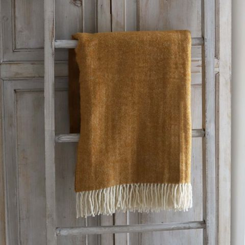 MUSTARD AUTUMN WOOL THROW