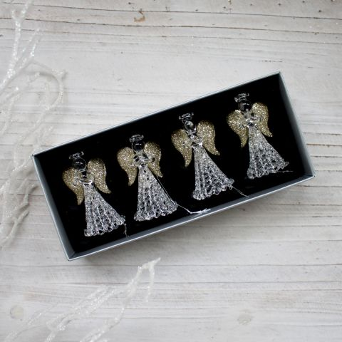 SET OF 4 GLASS CHRISTMAS ANGELS GOLD AND SILVER