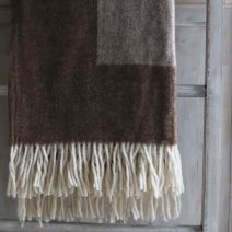ANNA PURE WOOL THROW - CAMEL & BROWN