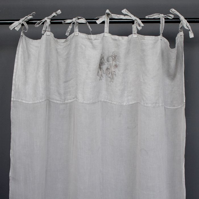 TIE CURTAIN WITH EMBROIDERY - GREY