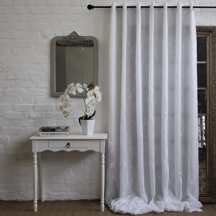 WIDE WIDTH LUCIE CURTAIN - WHITE