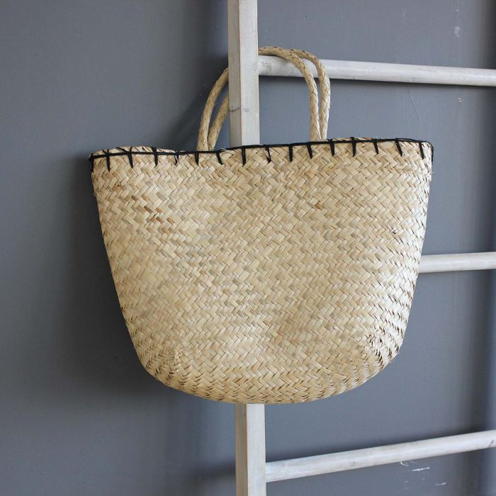 SEAGRASS BAG WITH BLACK PIPING