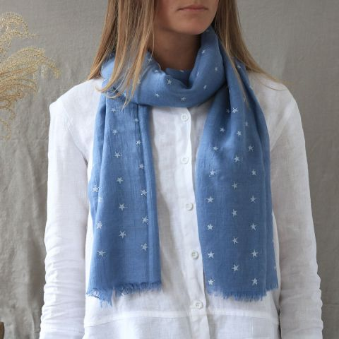 BLUE PALE WHITE STARS SCARF