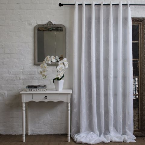 WIDE WIDTH LUCIE WHITE CURTAIN
