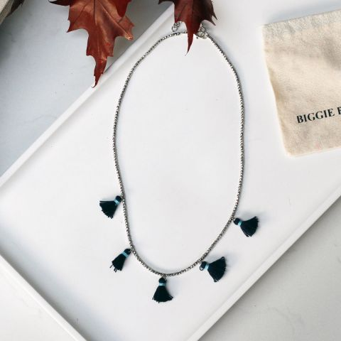 REGA SILVER AND NAVY NECKLACE