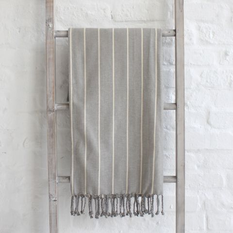TINTED GREY SUIT STRIPE THROW
