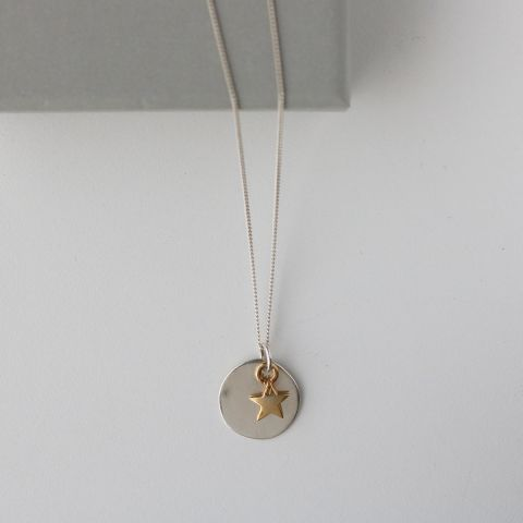 SILVER DISC GOLD STAR NECKLACE