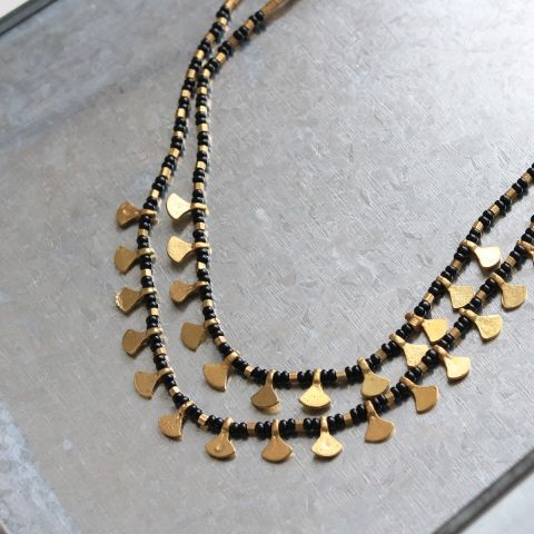 EGYPTIAN BLACK AND BRASS NECKLACE