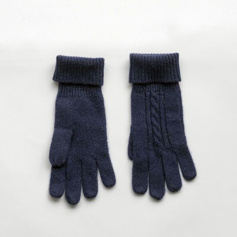 CASHMERE CABLE GLOVES NAVY