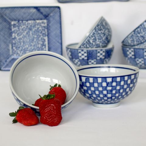 Set of 3 Blue Checked Sauce Bowls