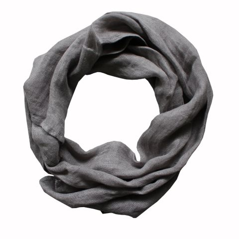PURE LINEN SCARF - DARK GREY