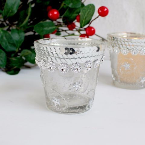 Silver Detailed Glass Candle Holder, Set of Three