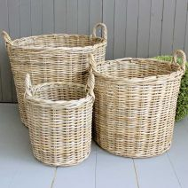 Set Of Three Round Kubu Baskets